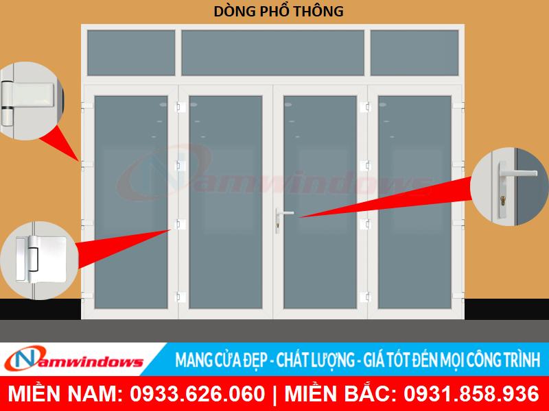 Cửa nhựa uPVC 4 cánh dòng phổ thông
